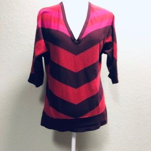 The Limited red purple stripe 3/4 vneck sweater L